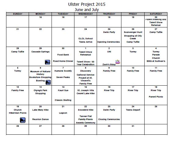 Sample Calendar  The Ulster Project  Utah